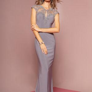 Open Back Jeweled Cap Sleeve Long Dress GL2058